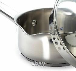 10 Pieces Stainless Steel Cookware Set, Pots, Sauce Pans, Frying Pan Set, Silver