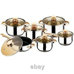 12 Pcs Non Stick Induction Hob Stainless Steel Saucepan Casserole Cookware Set