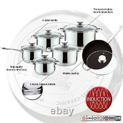 12pc Induction Non Stick Stainless Steel Cookware Kitchen Glass Lids Pot Pan Set