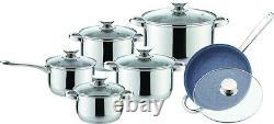 12pc Stainless Steel Casserole Saucepan Stock Pot Set Kitchen Induction Cookware