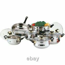 12pc Stainless Steel Cookware Saucepan Pan Pot Casserole Frypan Glass LID Set