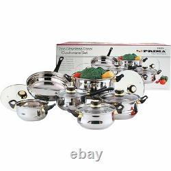 12pc Stainless Steel Cookware Saucepan Pan Pot Set New