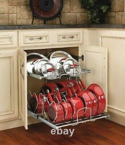 21 Inch 2-Tier Pullout Pots Pans Lids Rack Kitchen Cabinet Organizer Cookware