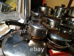 24 pc 1801 REVERE WARE copper BOTTOM STAINLESS STEEL COOKWARE SET bonus