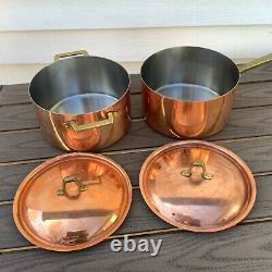 2 Vintage Paul Revere Copper & Stainless Steel Pots & Lids Brass Limited Edition