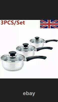 3PCS Induction Pan Set Saucepan Set Cookware Pot Stainless Steel With Glass Lids