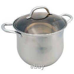 6PC Induction Hob Stainless Steel Stockpot Pot Casserole Cookware Set Glass Lids