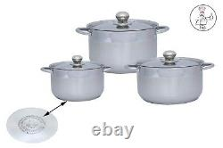 6 PC High Quality Stainless Steel Sauce Pot Set Cookware Kitchen