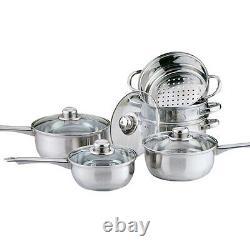 6pc Cookware + Steamer Set Stainless Steel Saucepan Pan Pot Kitchen Cook Sauce