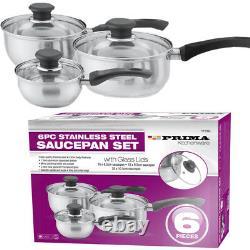 6pc Stainless Steel Cookware Set Saucepan Pot Kitchen Cooking Fry Pan Glass LID