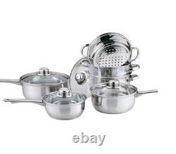 6pc Stainless Steel Cookware Steamer Set Cook Sauce Saucepan Pan Pot Kitchen
