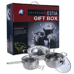 6pcs Stainless Steel Cookware Casserole Wok Saucepan Pan Pot Set With Glass Lids