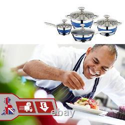 8Pc Induction Hob Cookware Set Blue Stripe Stainless Steel Saucepan Casserole