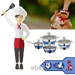 8 Pc Induction Hob Cookware Set Blue Stripe Stainless Steel Casserole Saucepan