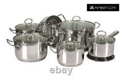 AMBITION Cookware Set 13 Pcs Saucepan, Stewpots, Glass Lids Pots