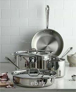 All-Clad 7 Pieces Stainless Steel 18/10 7-Pc. Cookware Set Brand New