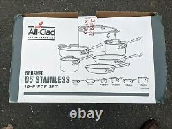 All-Clad Brushed D5 Stainless Cookware Set Pots and Pans 5-Ply SS (10 pieces)