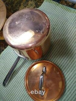 All-Clad Copper 7 Piece Cookware Set Stainless Steel Handcrafted 4qt 3qt VGC
