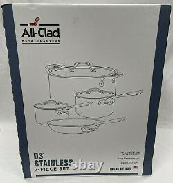 All-Clad D3 7-Piece Stainless Steel Cookware Set, 3-Ply Bonded