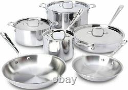 All-Clad SD5 Polished Stainless Steel 10 PC Cookware Set Brand New Sealed