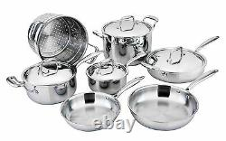 All-Ply 11pc Cookware Set 18/10 Copper core, Multi Ply, 5-Ply, Pots, All clad