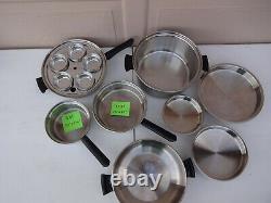Amway Queen 14 Piece Set 18/8 Multi-Ply Stanless Steel Pots Pans Lids Cookware