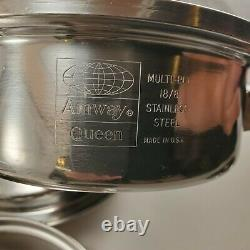 Amway Queen 3-PLY 18/8 Stainless Steel 9 Pc Cookware Set Saucepan Skillet Lid
