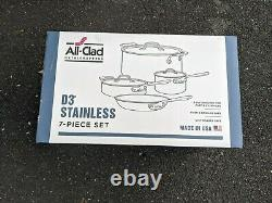 BRAND NEW All Clad D3 18/10 Stainless Steel 7 Piece Tri-Ply Cookware Set