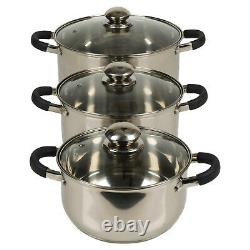 Berger 6pc Stainless Steel Cookware Pot Set Saucepan Lids Cooking Kitchen Food