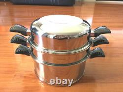 Brand New Lifetime 3 piece 12 Layer Stainless Steel Waterless Cookware 6 Qt
