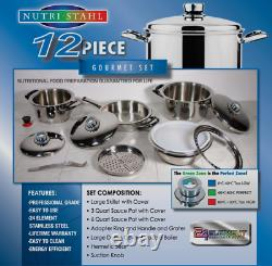 Brand New Rainbow Cooking System Stainless Steel Cookware 12 Pcs Set Nutri Stahl