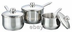 Buckingham 3 Piece Induction Saucepan Cookware Pot Pan Set Stainless Steel Lid