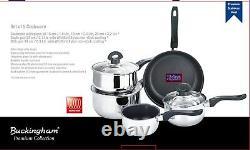 Buckingham Induction 5 Piece Pan Set Saucepan Set Cookware Pot Stainless Steel