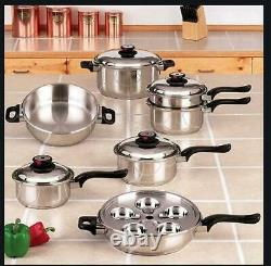 Chefs 17 Piece T304 Steam Control Stainless Steel 7 Ply Cookware Set