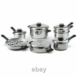 Chefs 17 Piece Waterless Stainless Steel Kitchen Mixing Cookware Set