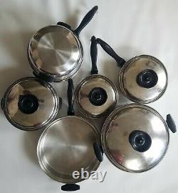 Chefs Ware Townecraft Cookware Set 13 Pc T304 Stailess Steel 5 Ply Usa Made Vtg