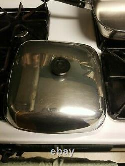 Copper Clad Bottom Stainless Steel Revere Ware Large Square Skillet With Lid 11