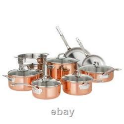 Copper Cookware Set 13 Pc Tri Ply Stainless Steel Aluminum Pots Pans Glass Lids