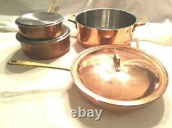 Copper Stainless Steel 7 Piece Cookware Set Pot Saute Pan Large Skillet LID