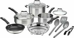 Cuisinart 12-Piece Cookware Set Stainless Steel Pots and Pans BRAND NEW SET SAVE