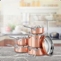 Cuisinart Copper Tri-Ply Stainless Steel 11-Piece Cookware Set CTPG-11PC