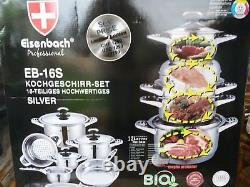 Eisenbach Professional 16 Piece High Quality Cookware Set Suitable for Halogen