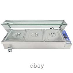 Electric Bain Marie With Tap 1/2 GN 3 Pans Pot Cookware Commercial Food Warmer