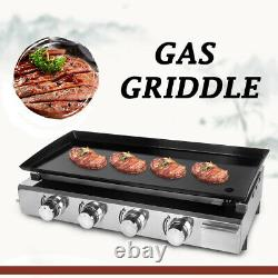 Gas BBQ Griddle LPG Plancha Hot Plate Barbecue Grill Enameled Cast Plate 84x34cm
