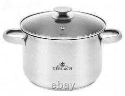 Gerlach First Set Of Pots 10 Pcs Cookware Stockpot Stewpots Glass Lids Pot New