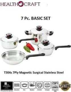 Health Craft 7Ply Surgical Sainless Steel Waterless Induction Cookware Set