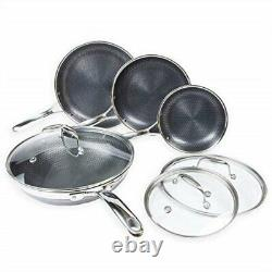 Hexclad Commercial Commercial 7 Piece Cookware Pan Set, Hybrid Stainless USED