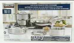 Kirkland Signature 10-piece Set 5-ply Clad Stainless Steel Cookware Pots & Pans