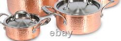 Lagostina Copper Hand Hammered Design Cookware Set, 12-pc