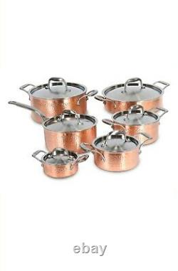 Lagostina Copper Hand Hammered Design Cookware Set, 12-pc NEW IN BOX